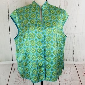 Cato Button Up Blouse Sz 18 / 20W Blue Green